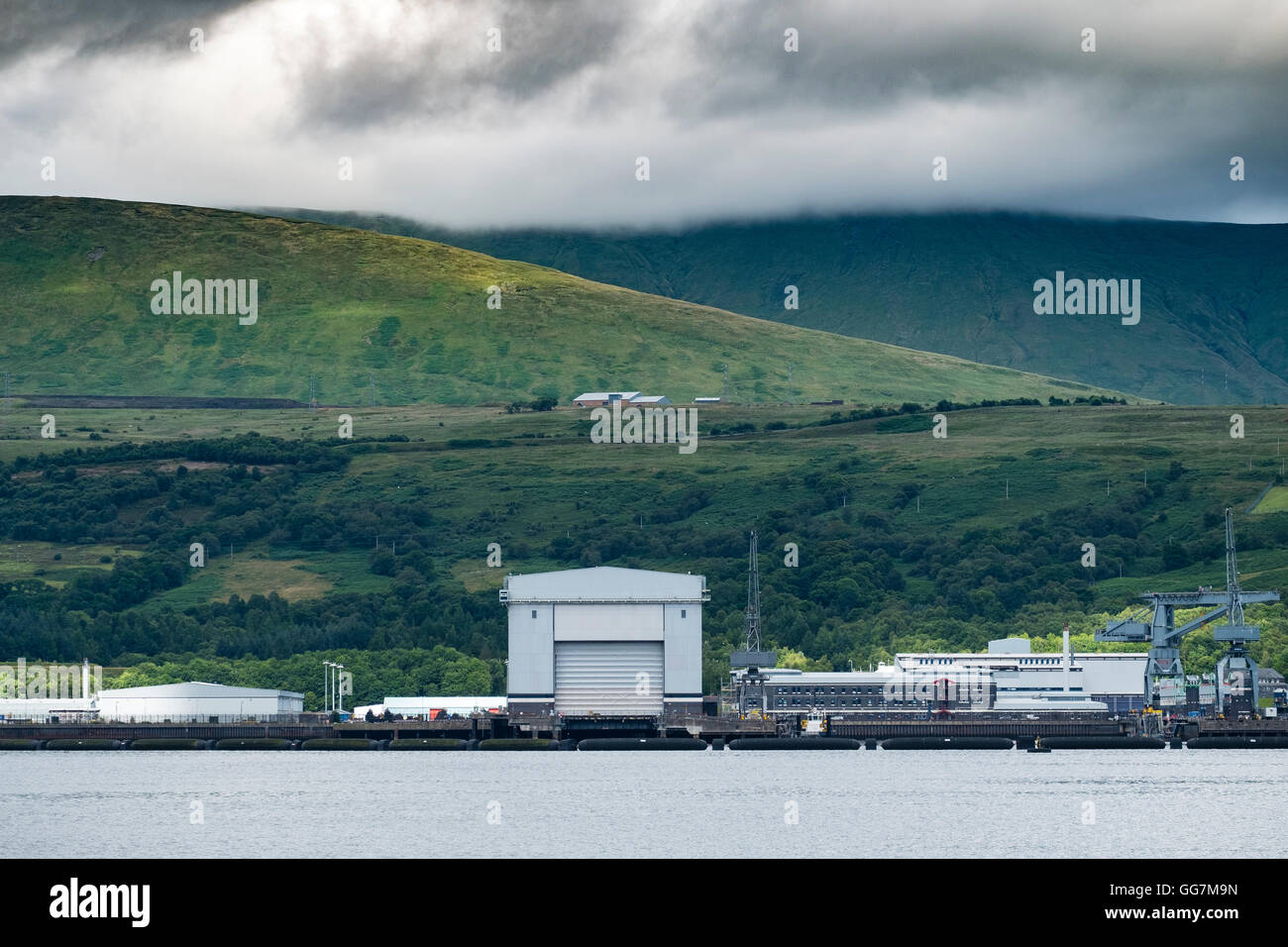 View of Faslane naval base on the Clyde  home of Trident nuclear deterrent submarines in Scotland, United Kingdom - Stock Image
