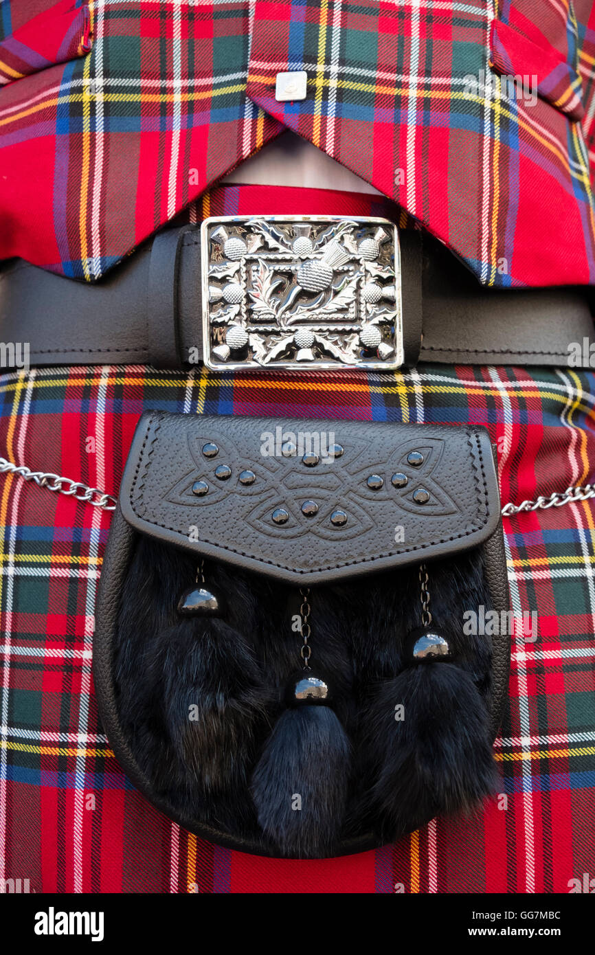 Close up of traditional Scottish tartan kilt and sporran - Stock Image