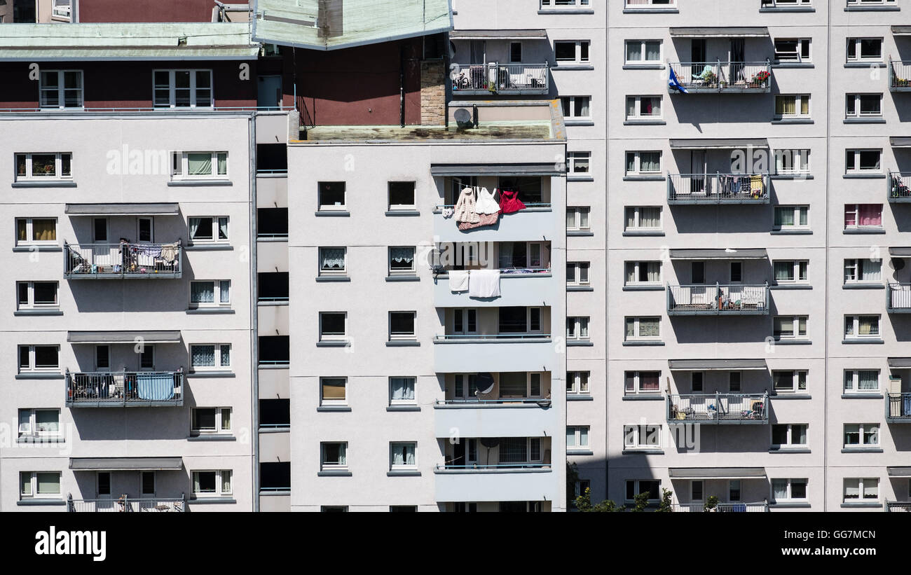 View of high rise social housing estate apartment buildings in central Edinburgh , Scotland, united Kingdom - Stock Image