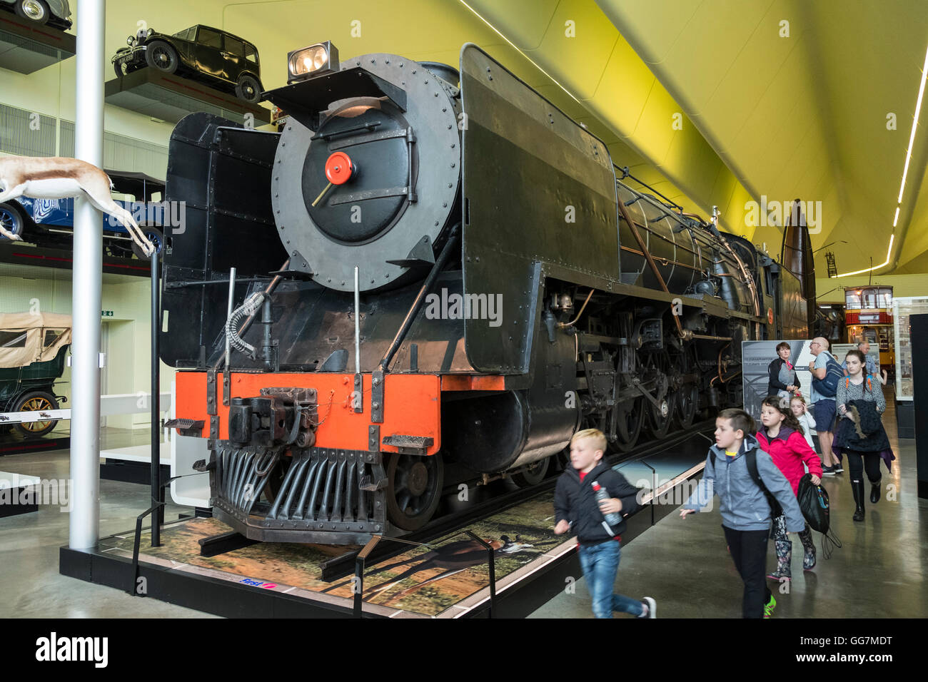 Large steam locomotive on display at the Riverside museum of transport in Glasgow, Scotland, united Kingdom - Stock Image