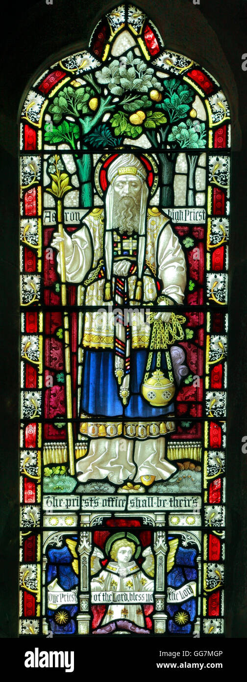 Aaron, High Priest, Old Hunstanton, stained glass window, by Clayton and Bell, c.1890, Norfolk Bible story stories - Stock Image