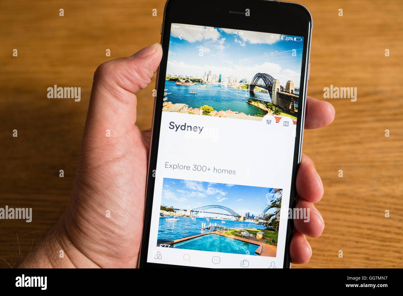 Airbnb app showing Sydney in Australia on a smart phone - Stock Image
