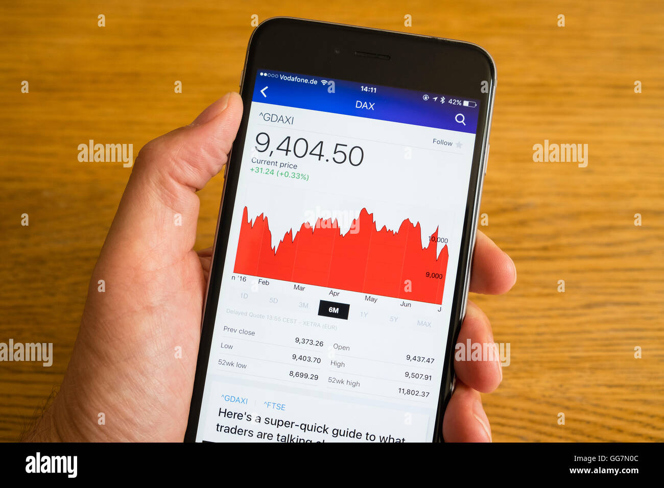 Detail of stock market performance of DAX German stock exchange  on a smart phone - Stock Image