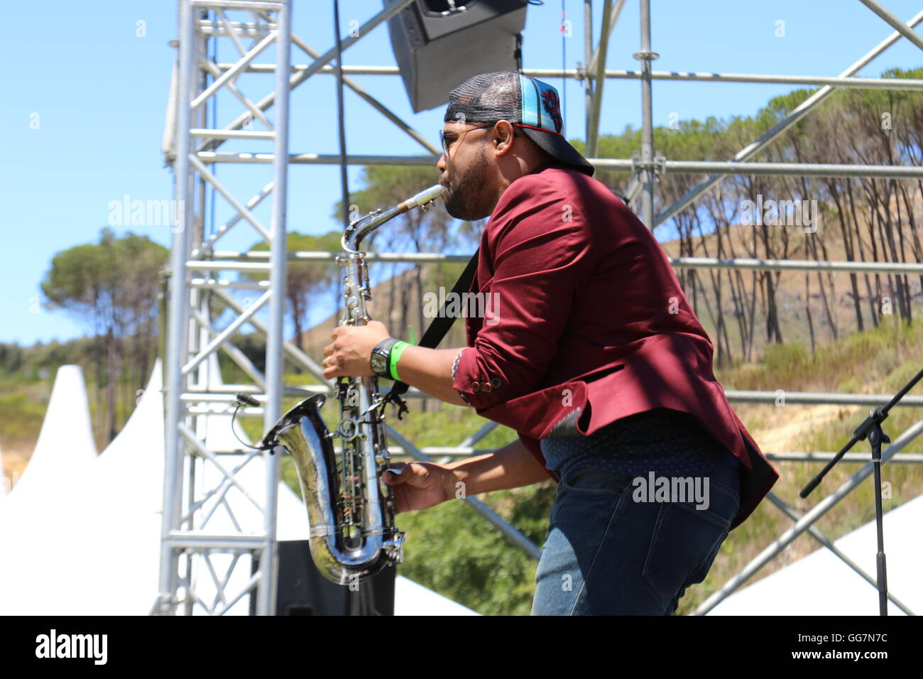 Saxophone player on stage at the 2016 Stellenbosch Wine Festival Stock Photo