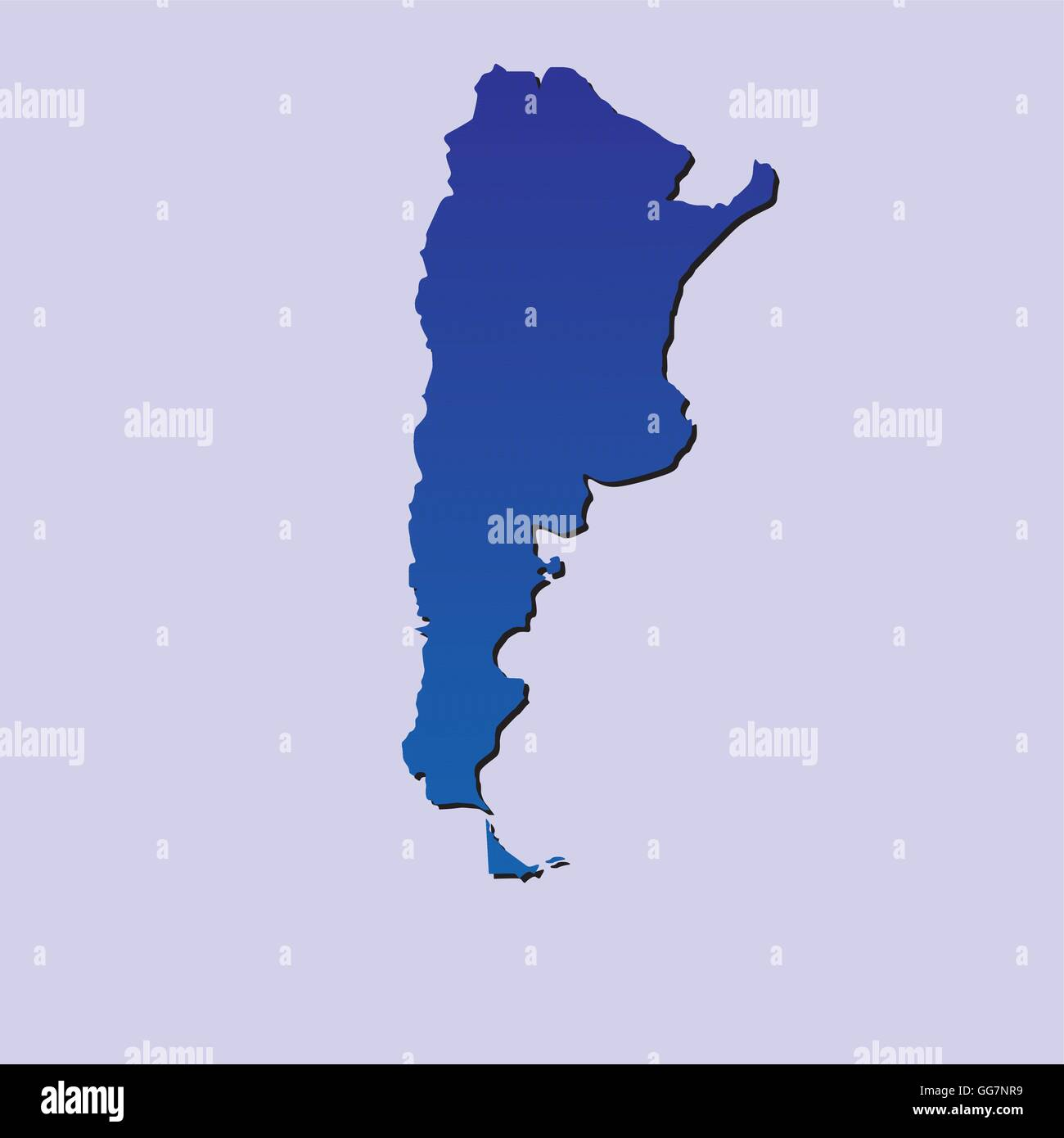 an isolated blue map of argentina on a light blue background Stock Vector