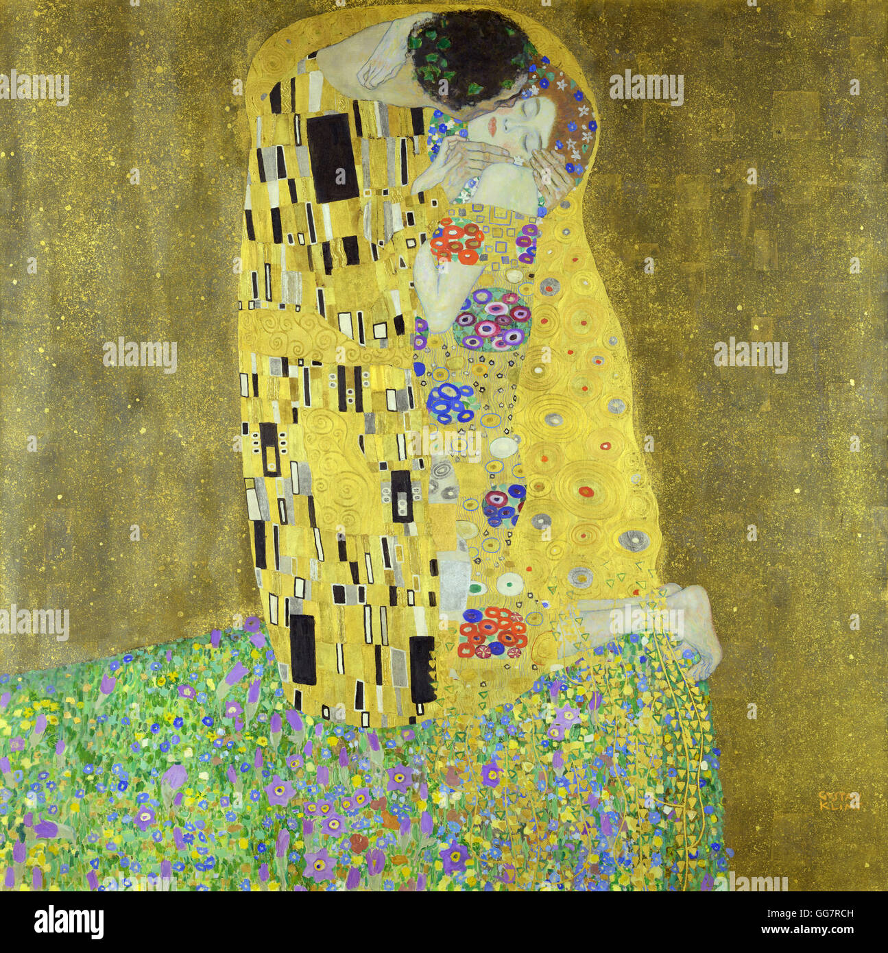 The Kiss by Gustav Klimt - Stock Image