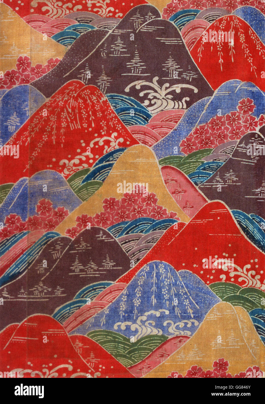 Bingata textile fragment- cherry blossoms, waves, mountains motifs - Stock Image