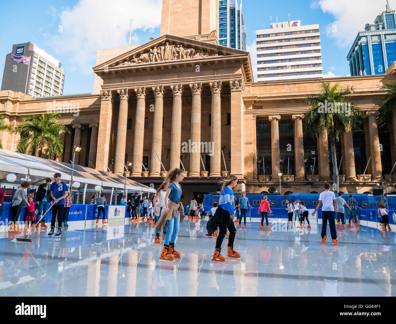 BRISBANE, AUS - JUN 24 2016: Winter Festival in Brisbane, outdoor ice-skating, King George Square - Stock Image
