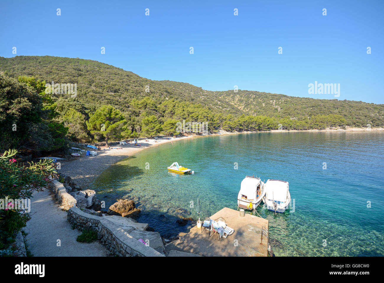 Cres Island: View to beach near Valun village, Istrian coast on the Adriatic sea, Croatia Europe Stock Photo