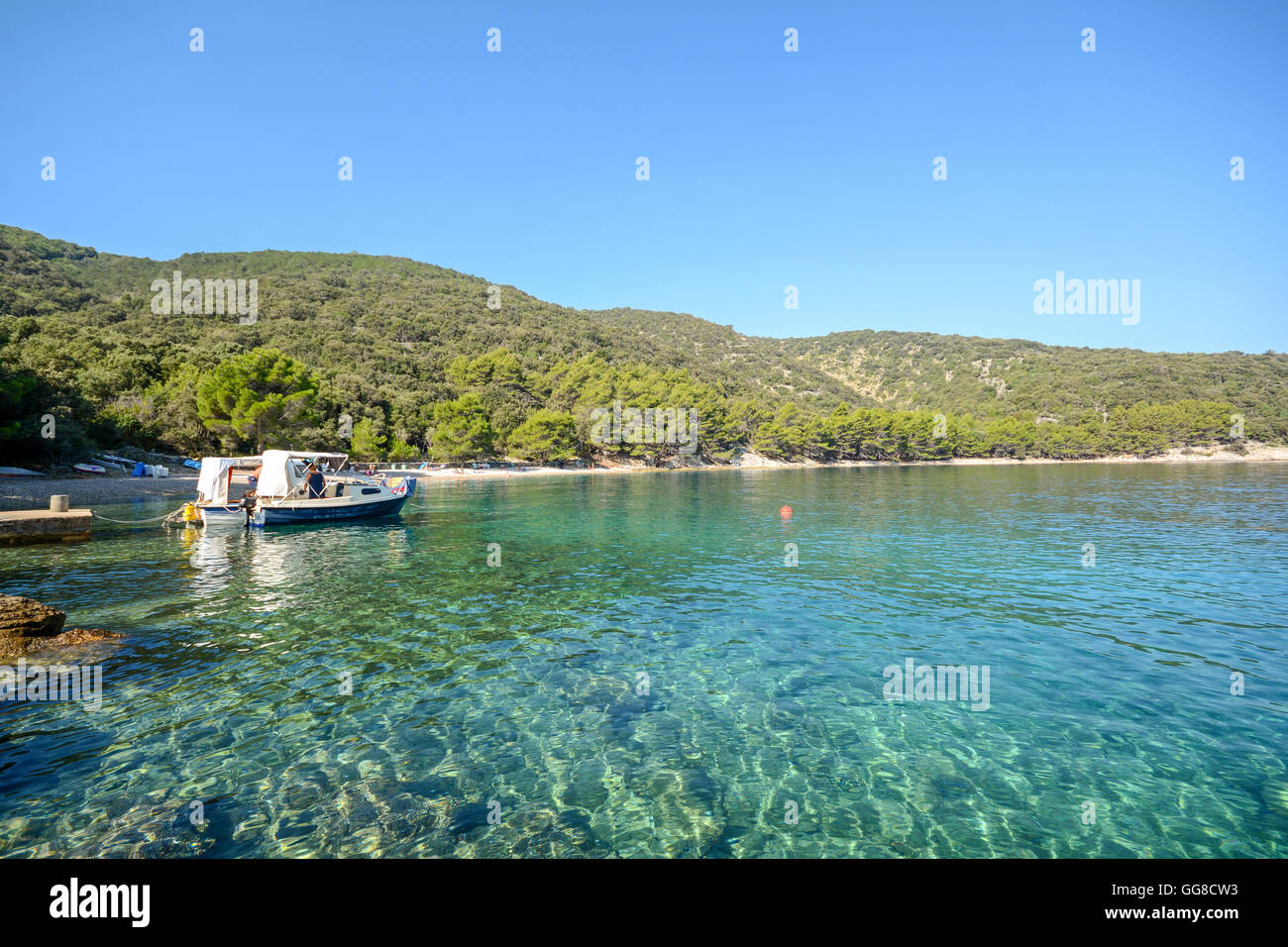 Cres Island: Beach near Valun village, Istrian coast on the Adriatic sea, Croatia Europe Stock Photo