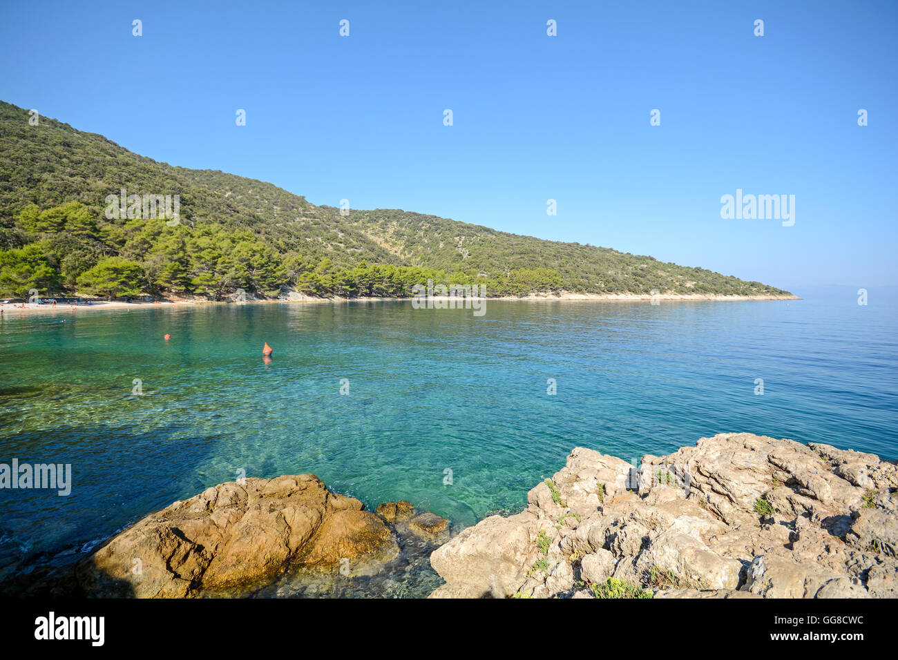 Cres Island: Beach near Valun village, Istrian coast on the Adriatic sea, Croatia Europe Stock Photo