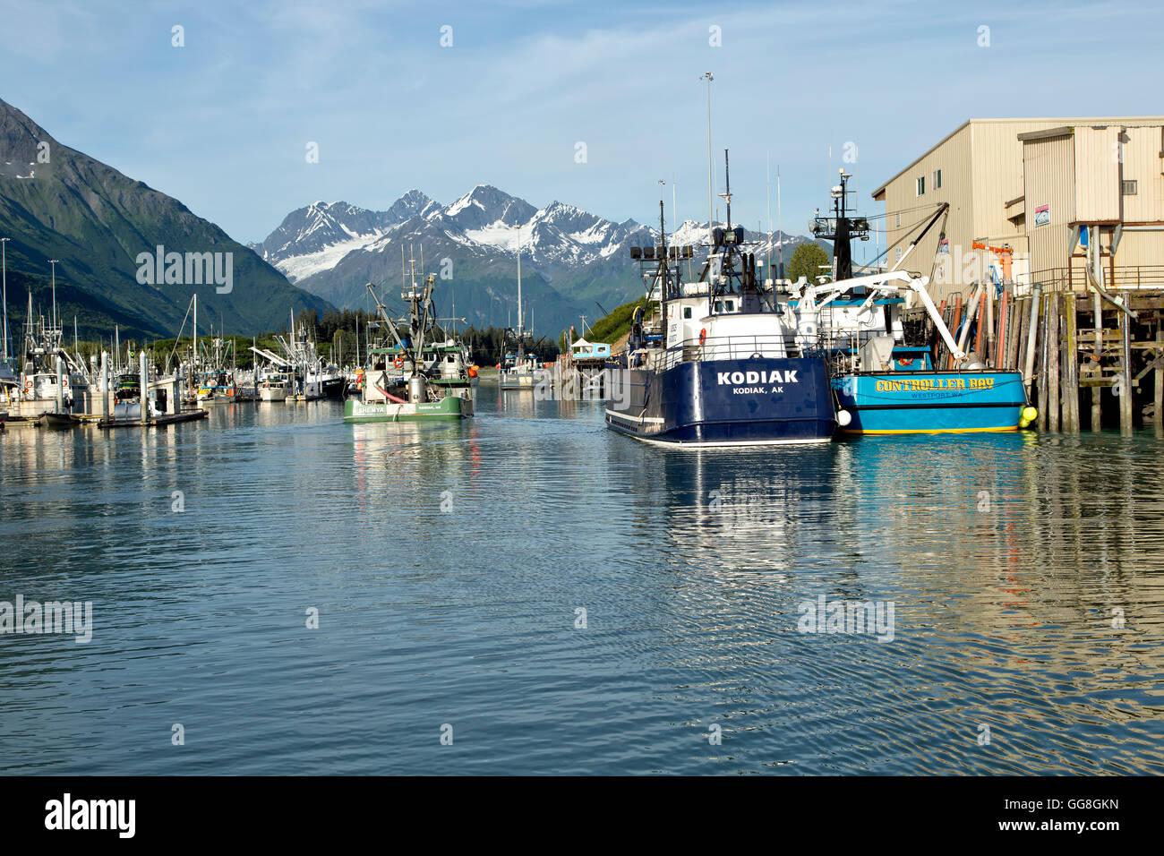 Fishing boats, Service Vessels moored, Port Of Valdez. - Stock Image