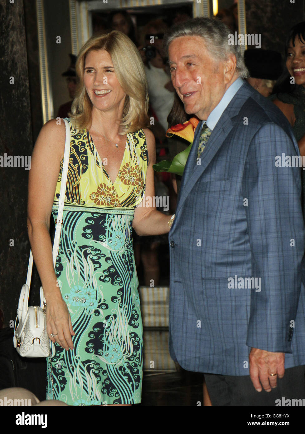 New York, USA. 3rd August, 2016. Susan Crow,Tony Bennett Light the Empire State Building in honor of 90 years of - Stock Image