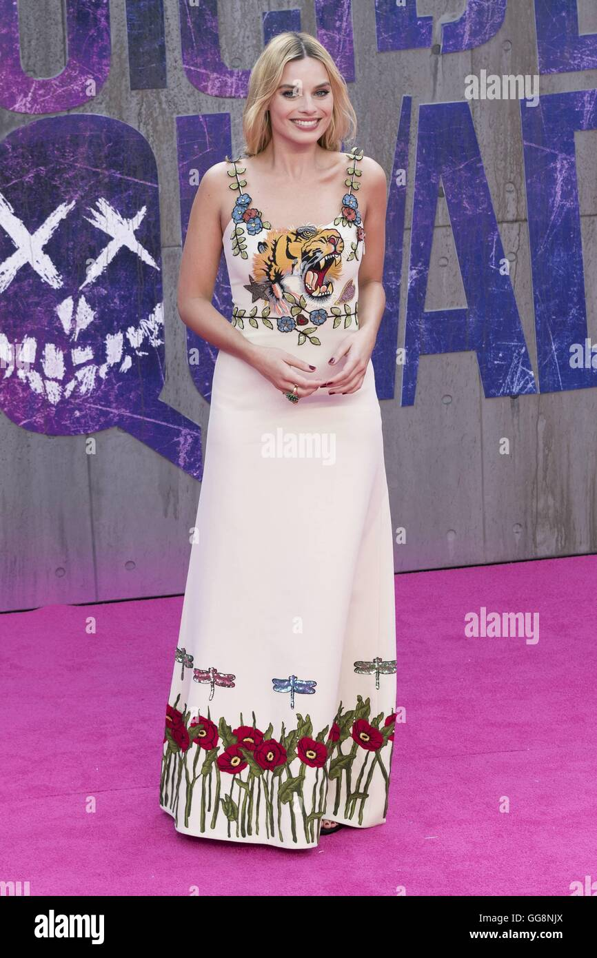 London, UK. 03rd Aug, 2016. Margot Robbie attends Suicide Squad film premiere at Leicester Square in London. Credit: - Stock Image