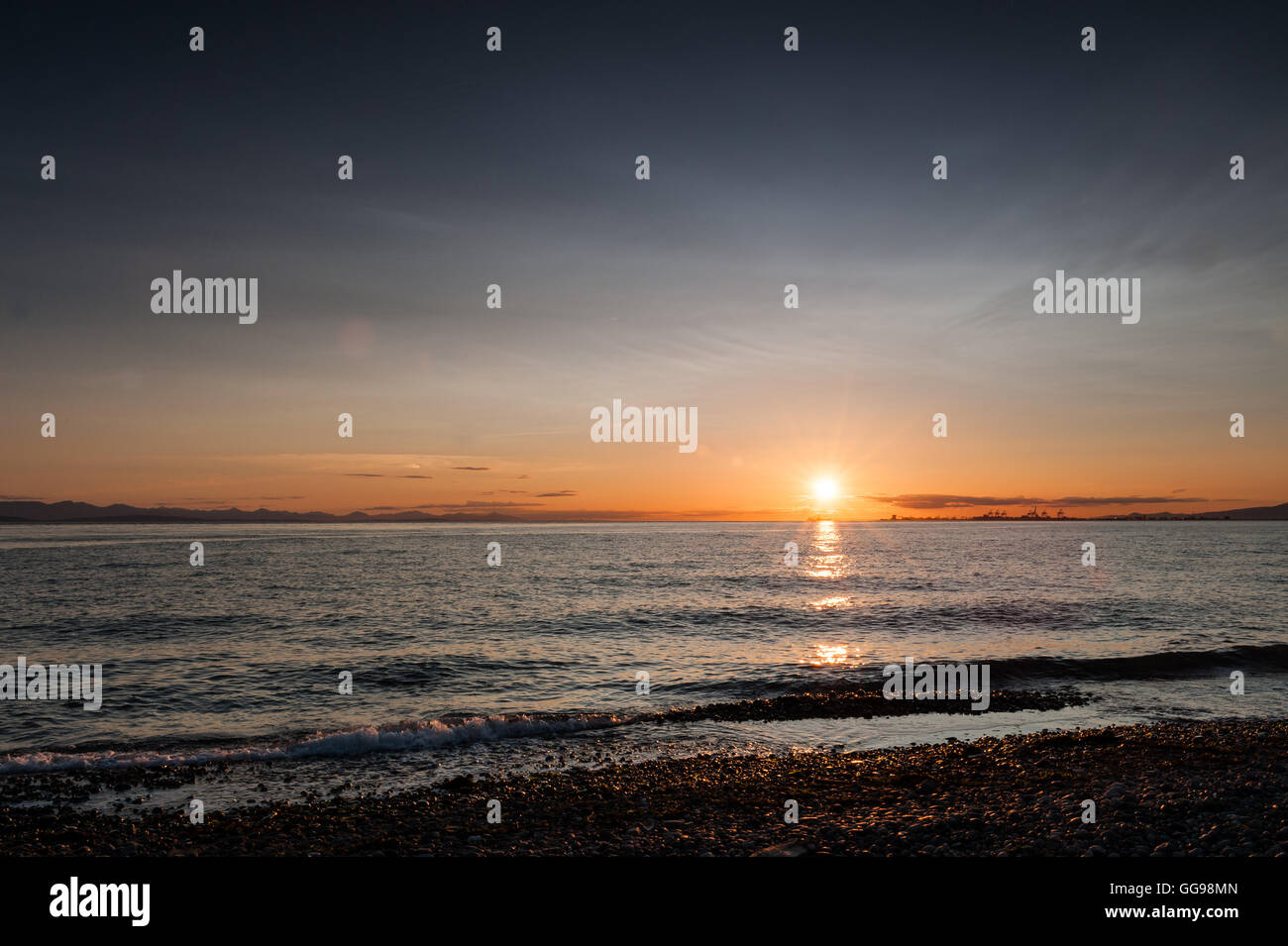 sunset at Point Roberts beach , Washington State, USA - Stock Image