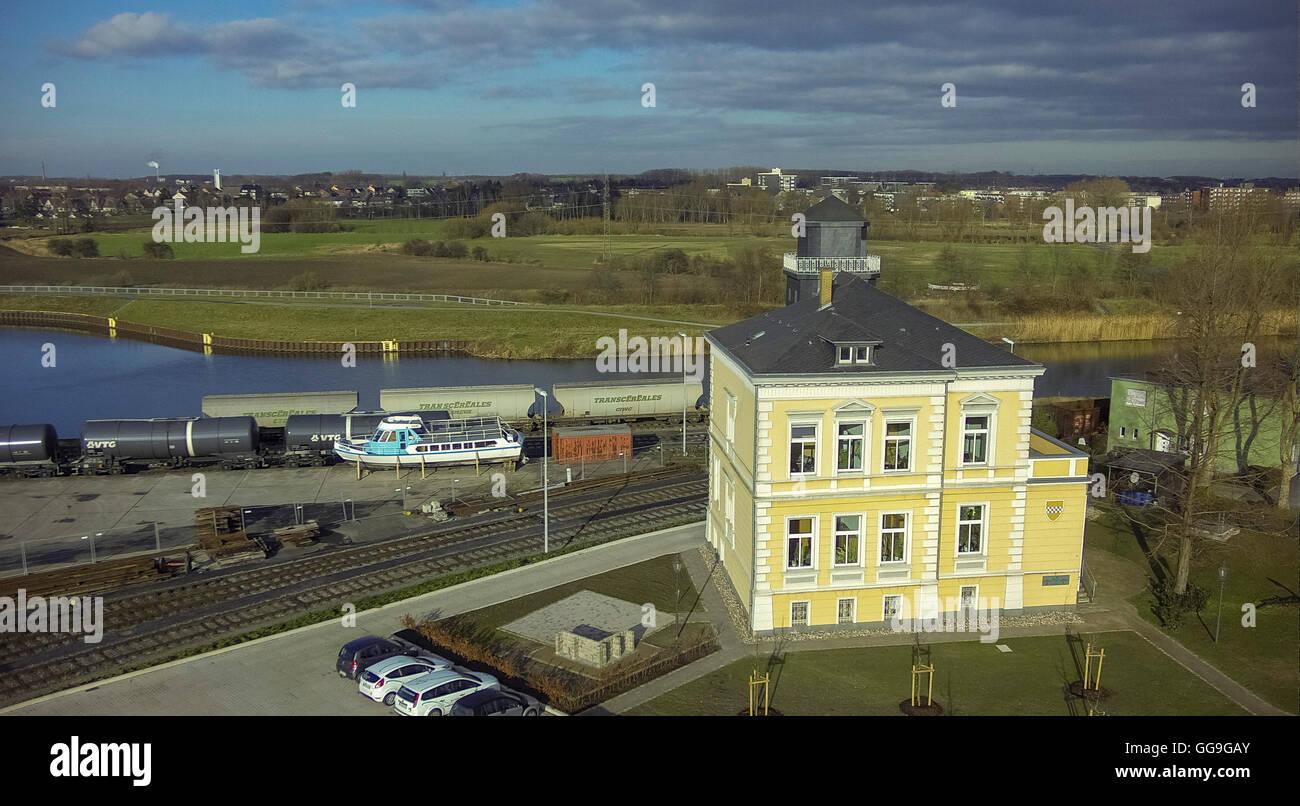 Aerial view, Hafenamt Hamm, habour organisation office, Hamm Port Area, Aerial view of Hamm, Hamm, North Rhine Westphalia, - Stock Image
