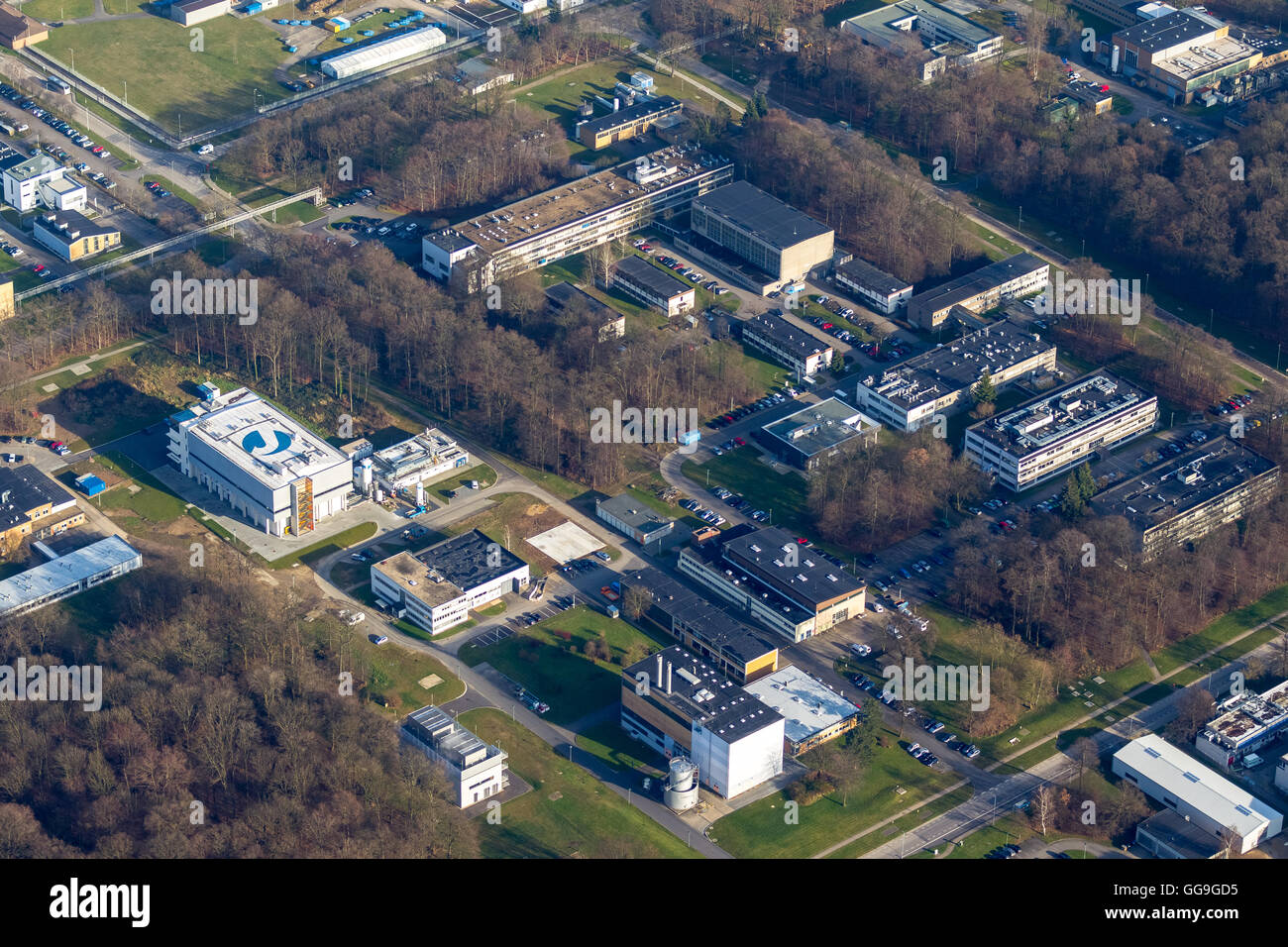Aerial view, Nuclear Research Centre Jülich, Jülich, Jülich-Zülpicher Börde, Julich, north - Stock Image