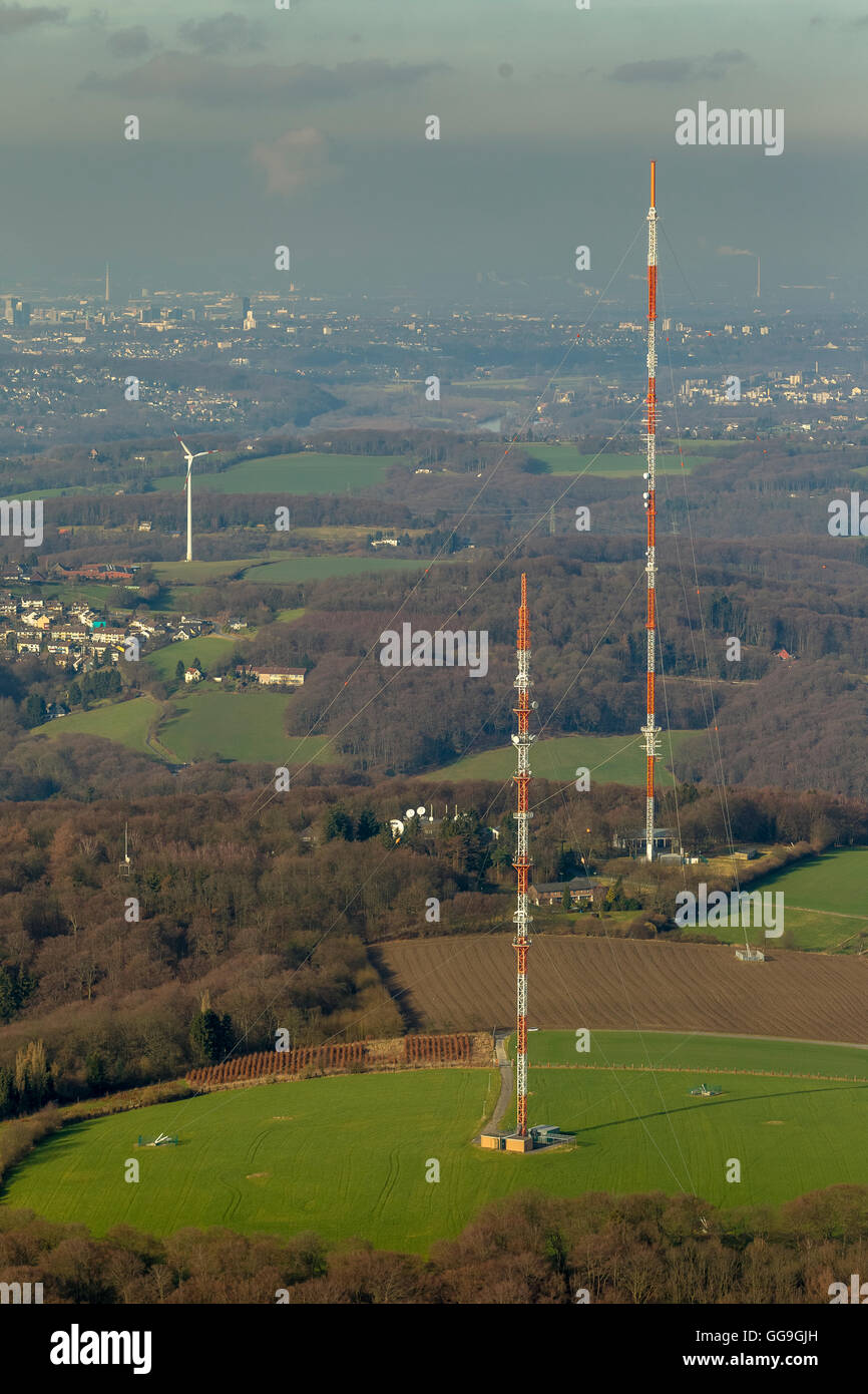 Aerial view, WDR Send masts Langenberg Langenberg transmitter, lattice mast transmitters, Langenberg, Velbert, Ruhr - Stock Image