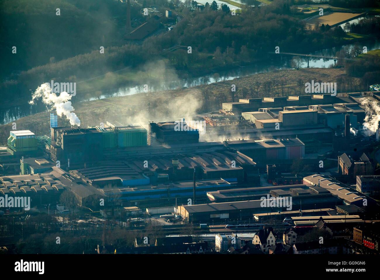 Aerial view, Deutsches Edelstahlwerk Witten , German steel factory Witten, overlooking the Ruhrauen, emissions, - Stock Image