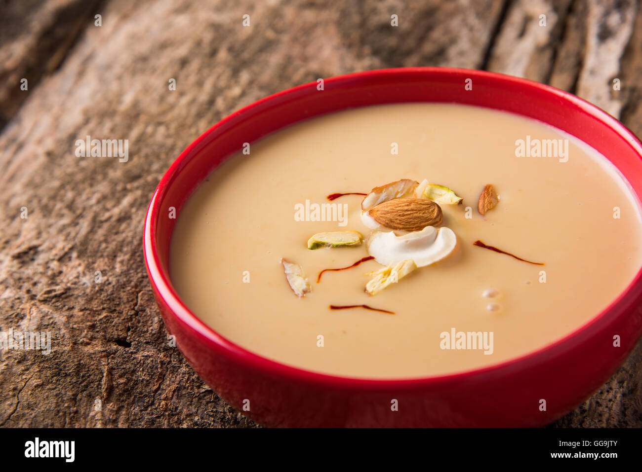 Delicious Indian sweet Rabdi with dry fruits toppings - Stock Image