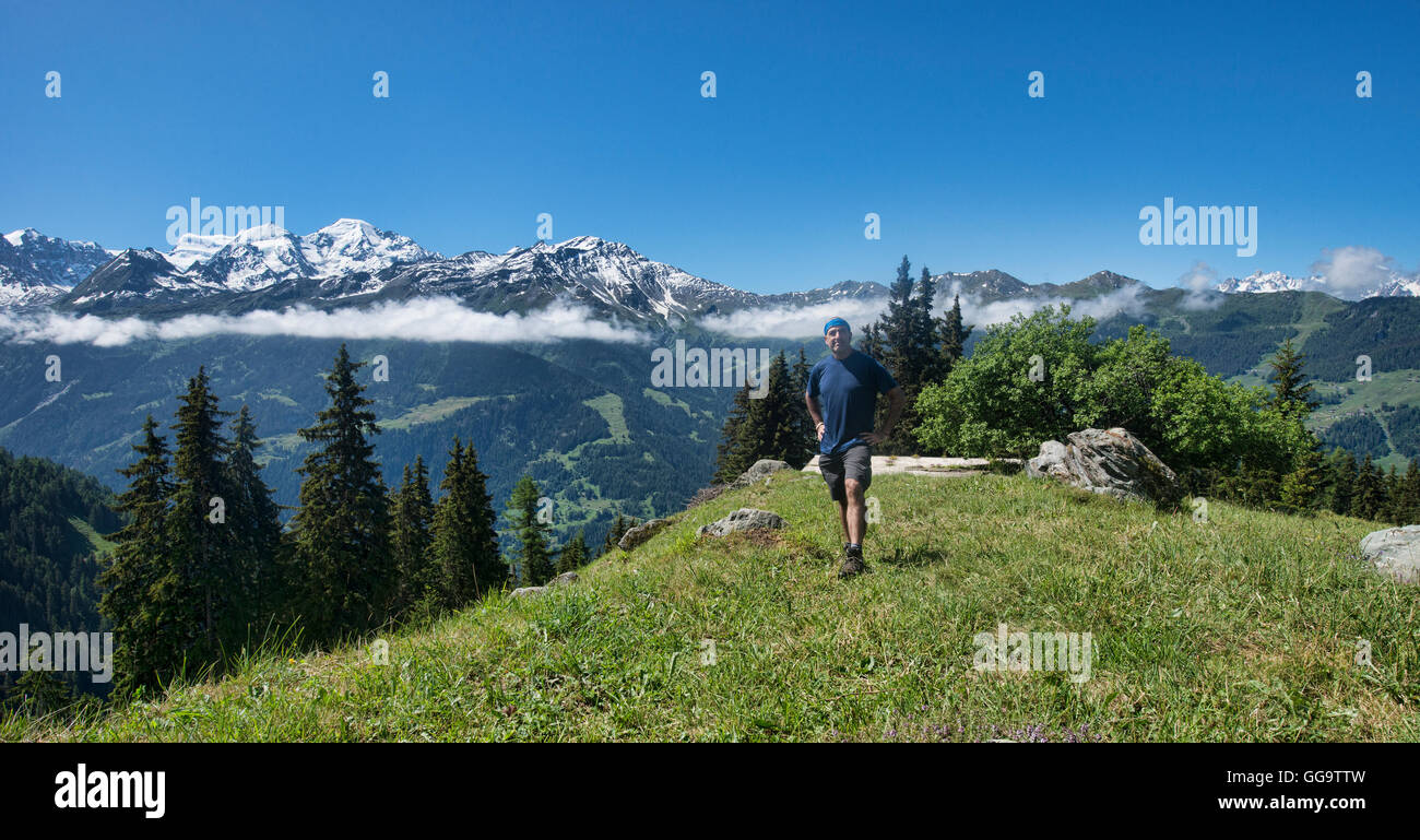 View of the Grand Combin Massif from the Haute Route, Val de Bagnes, Switzerland - Stock Image