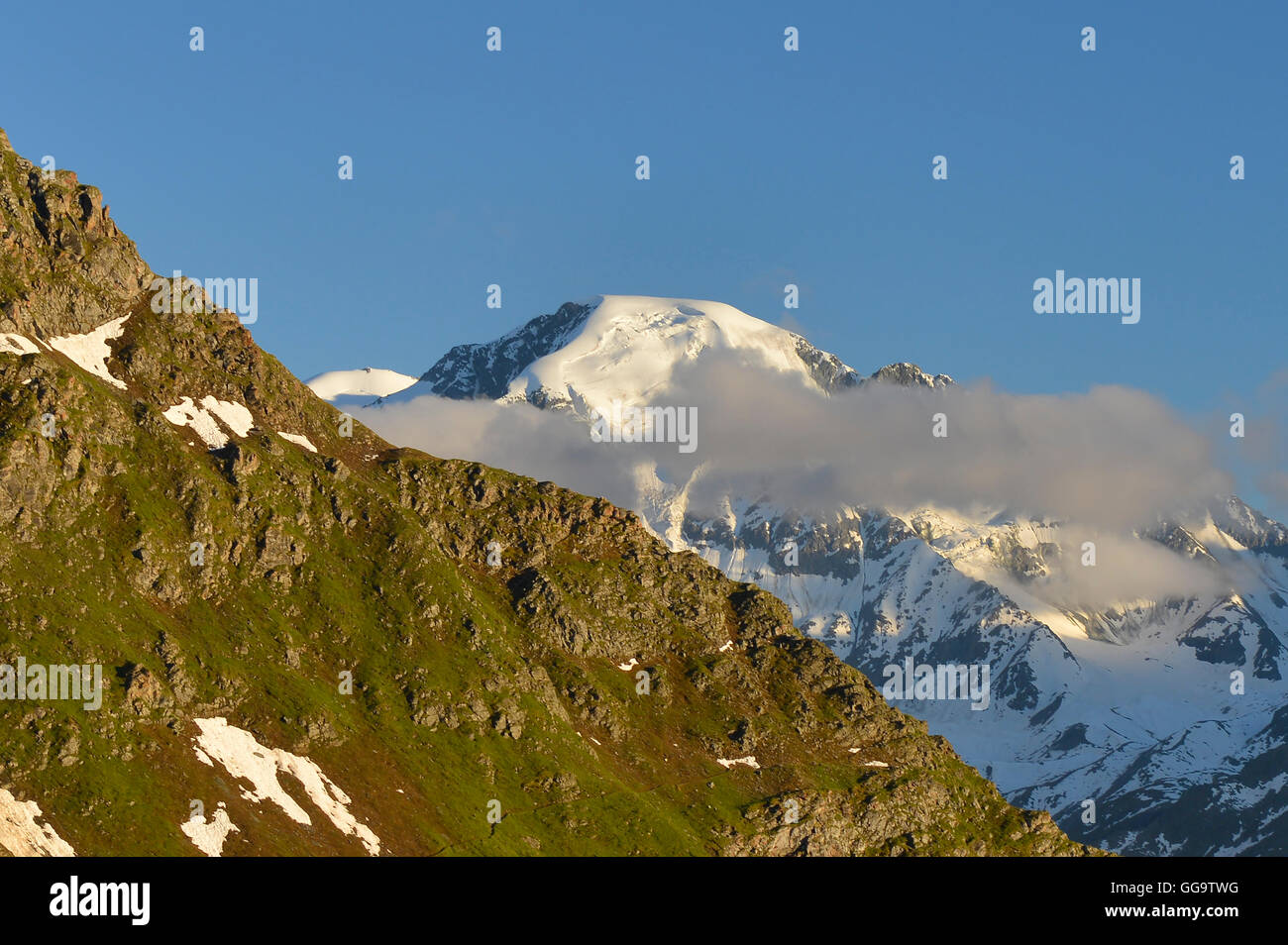 View of the Grand Combin from Cabane Mont Fort on the Haute Route, Val de Bagnes, Switzerland - Stock Image