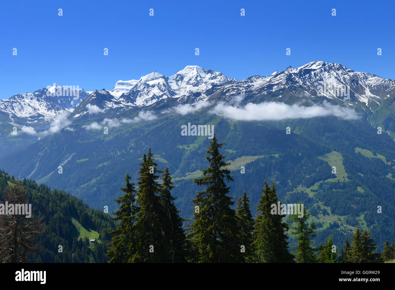 View of the Grand Combin Massif from Cabane Mont Fort on the Haute Route, Val de Bagnes, Switzerland - Stock Image