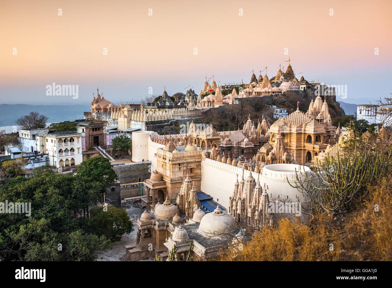 Jain temples on top of Shatrunjaya hill. Palitana (Bhavnagar district), Gujarat, India - Stock Image