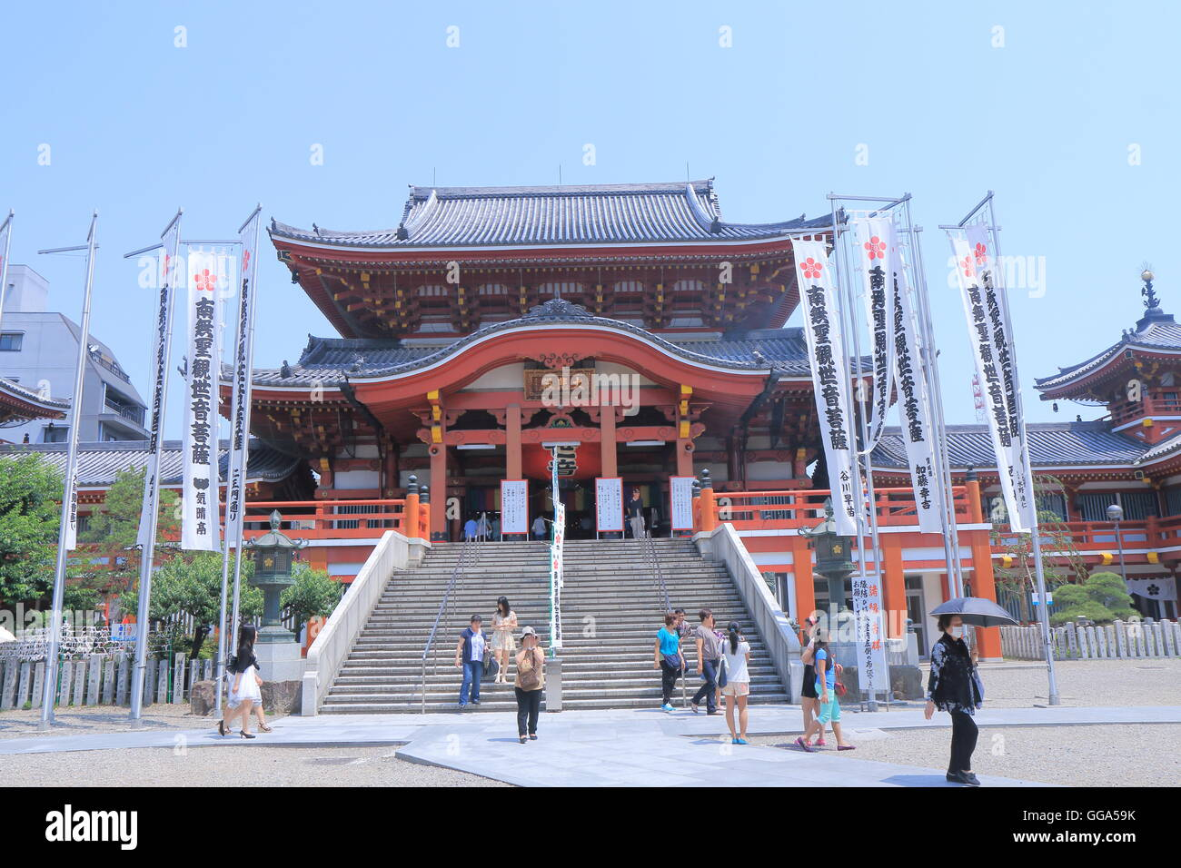 People visit Osu Kannon temple in Nagoya Japan. - Stock Image