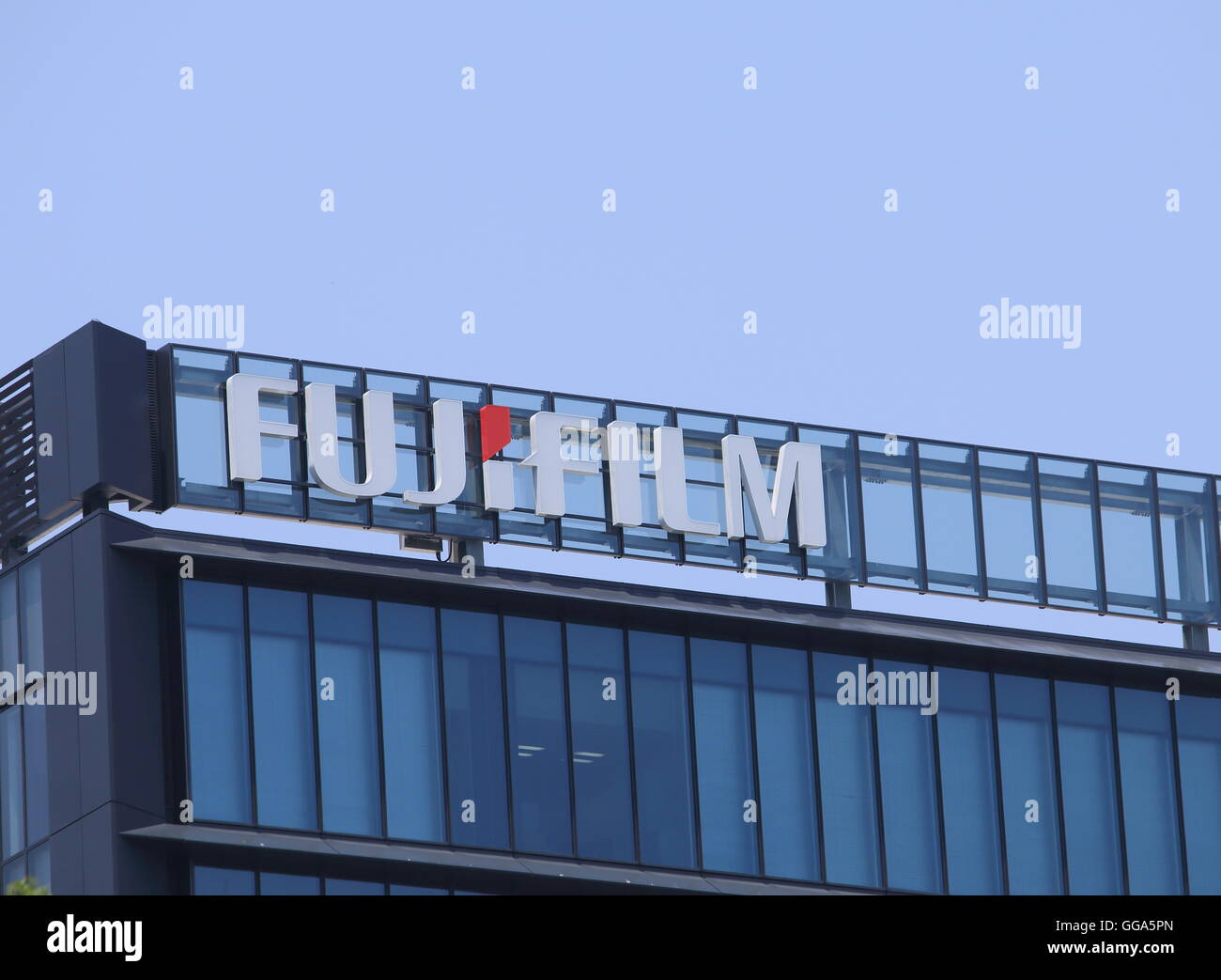 Fujifilm company logo a Japanese multinational photography and imaging company headquartered in Tokyo. - Stock Image