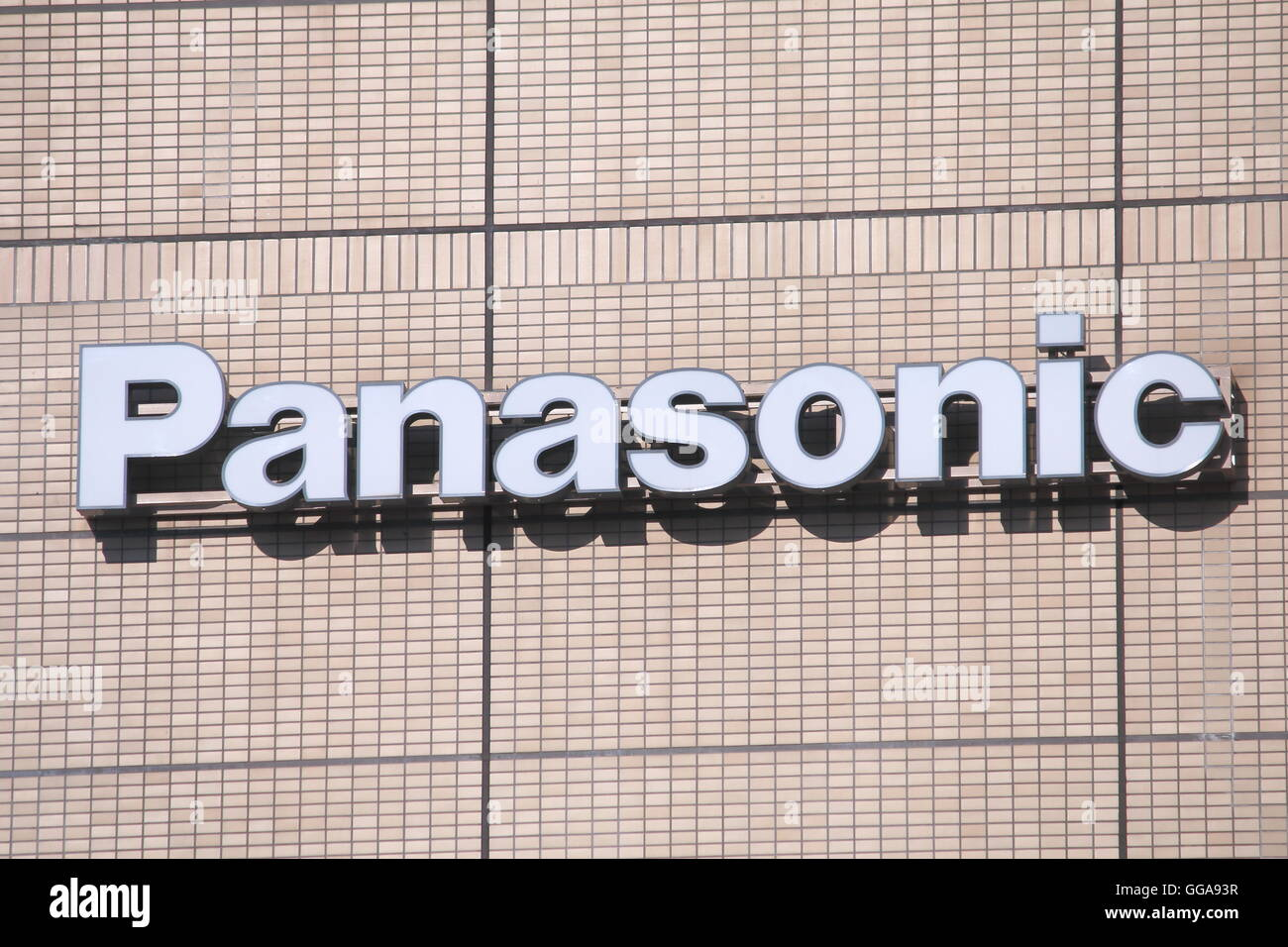 Panasonic company logo the principal brand name of the Japanese electronics manufacture Panasonic Corporation founded - Stock Image