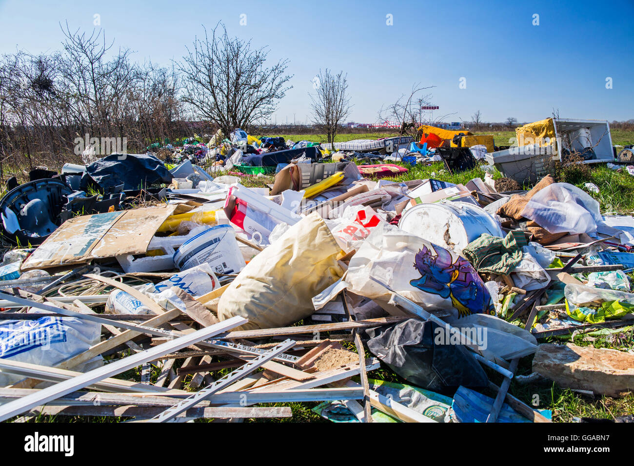 A huge illegal landfill, outskirts of town. - Stock Image