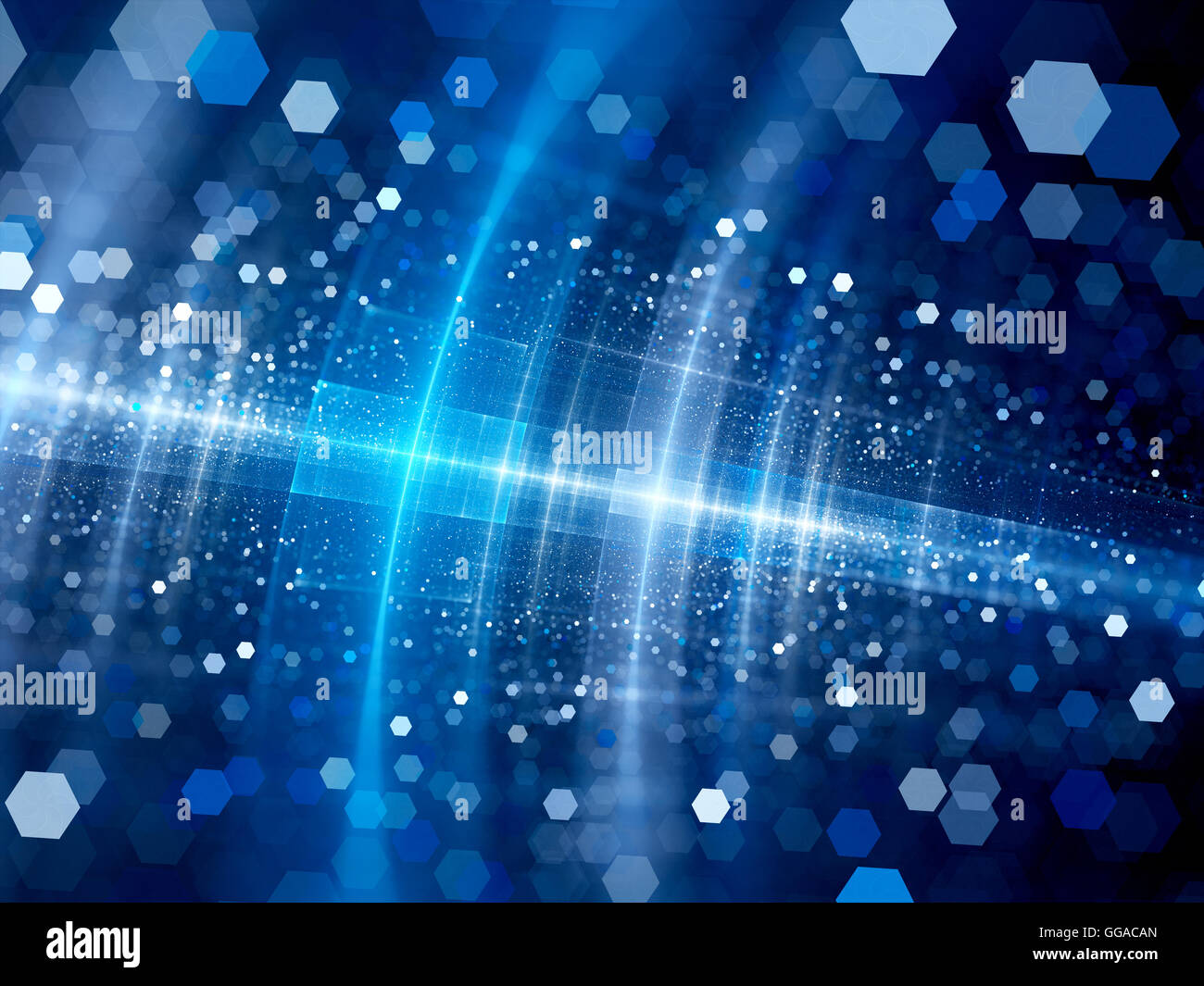 Blue glowing big data system with particles in space, computer generated abstract background - Stock Image