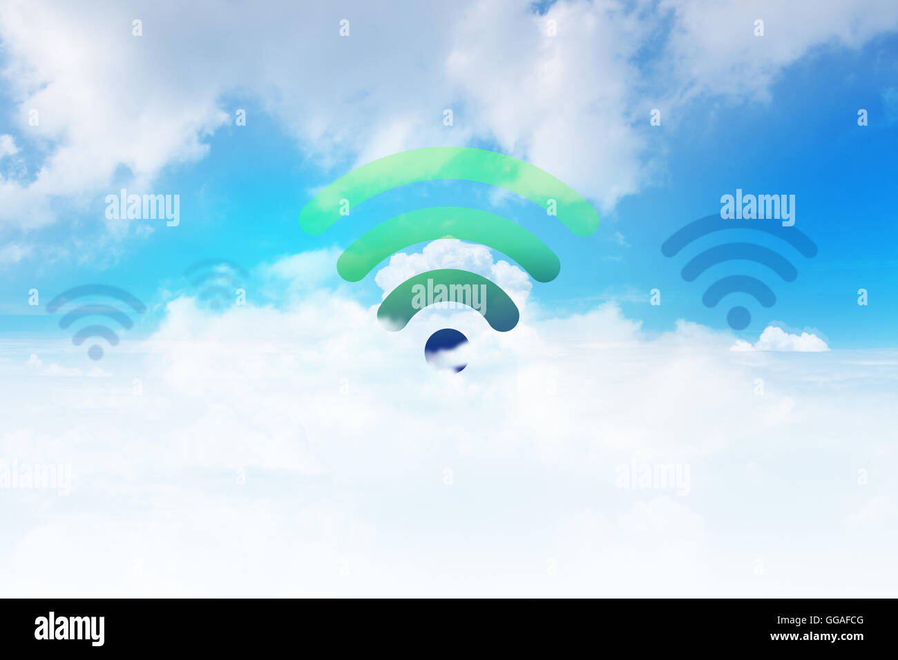 Wifi Icon on the cloudy Blue Sky - Stock Image