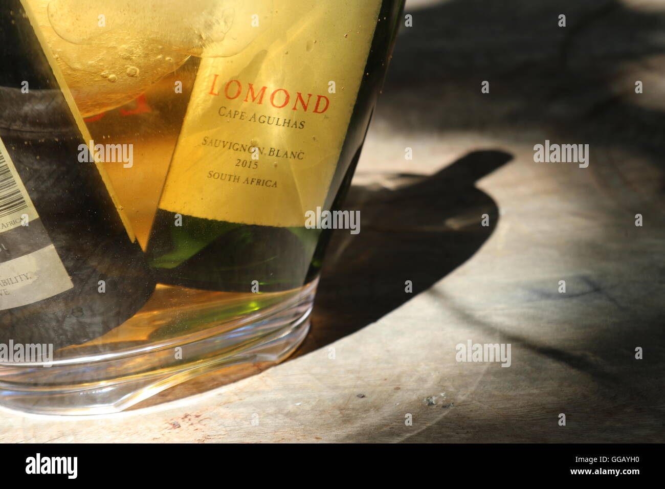 bottles in a wine cooler at Lomond VIneyard, Cape Agulhas, South Africa - Stock Image