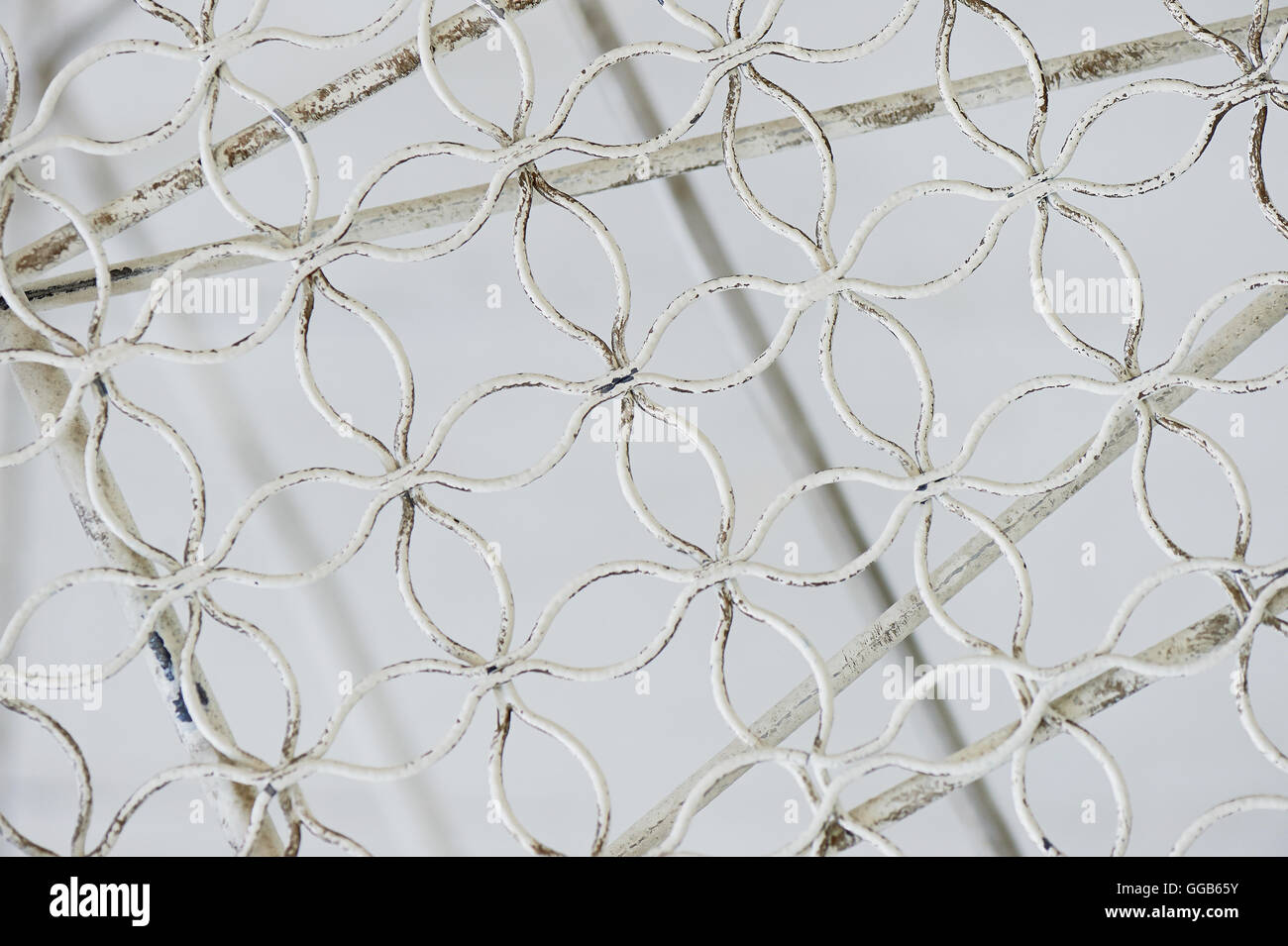 Metallic light white fishnet mesh wire. - Stock Image