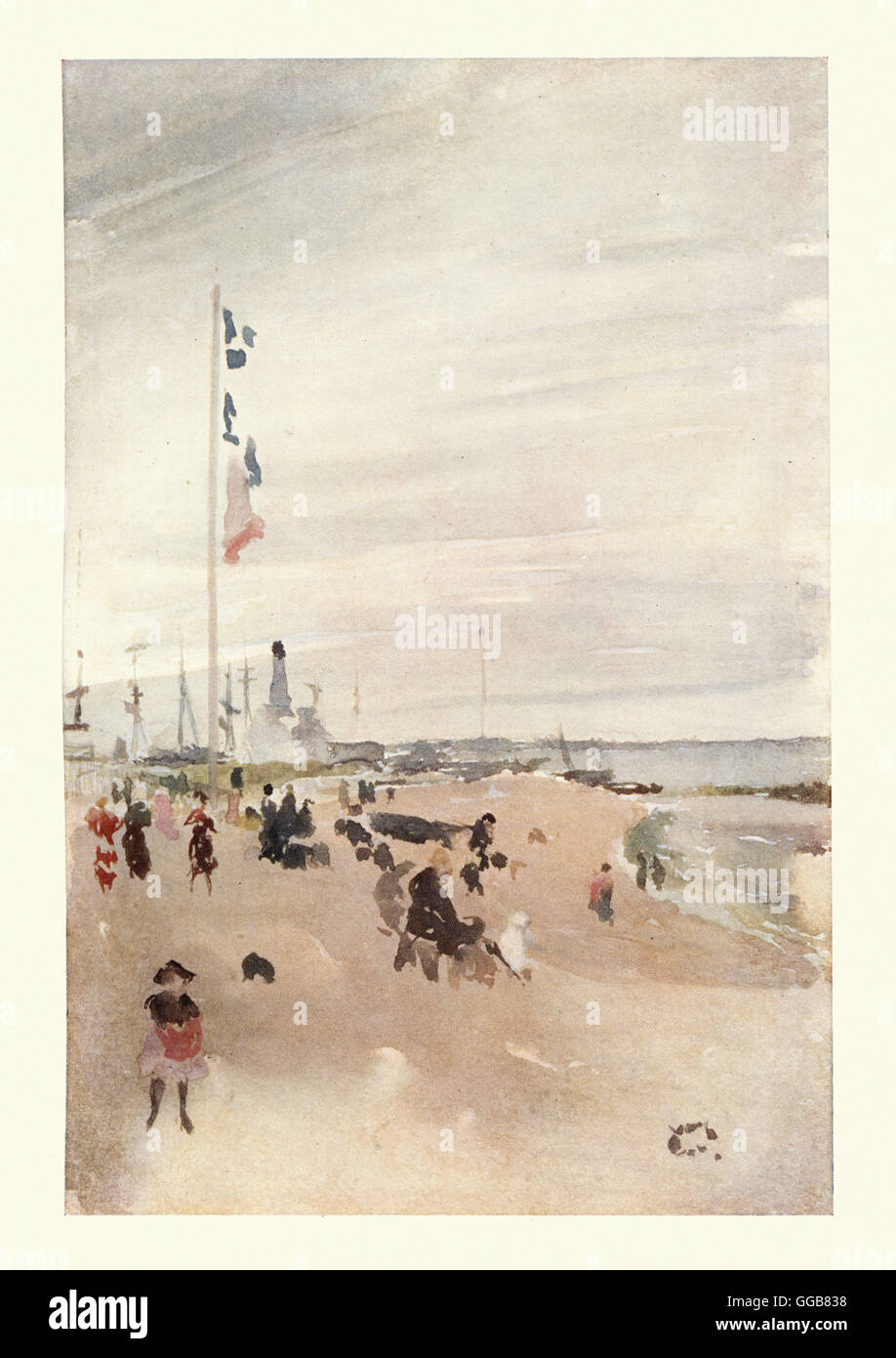 The Beach, after the watercolour by James Abbott McNeill Whistler. - Stock Image