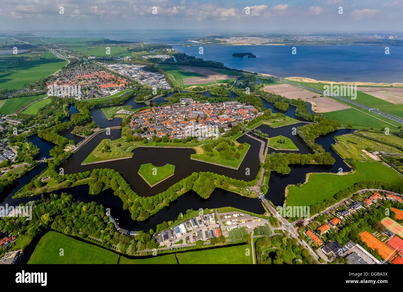 Aerial view, Bastion Oud Molen, Naarden VESTING, Fortress of Naarden with townhouse and Church, Great Church or Stock Photo