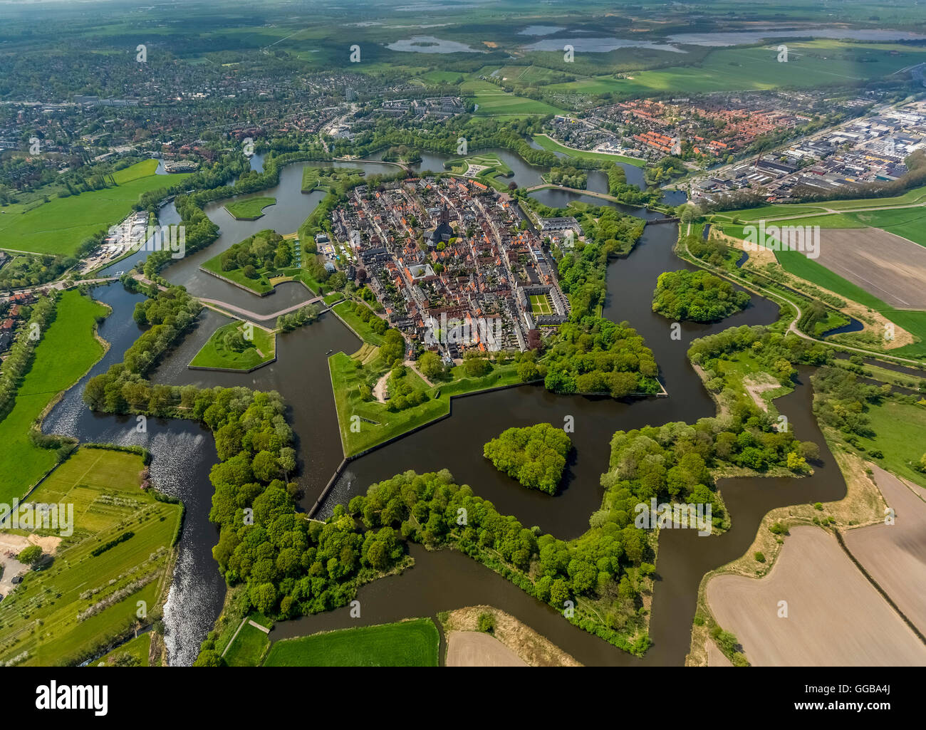 Aerial view, Bastion Oud Molen, Naarden VESTING, Fortress of Naarden with townhouse and Church, Great Church or - Stock Image