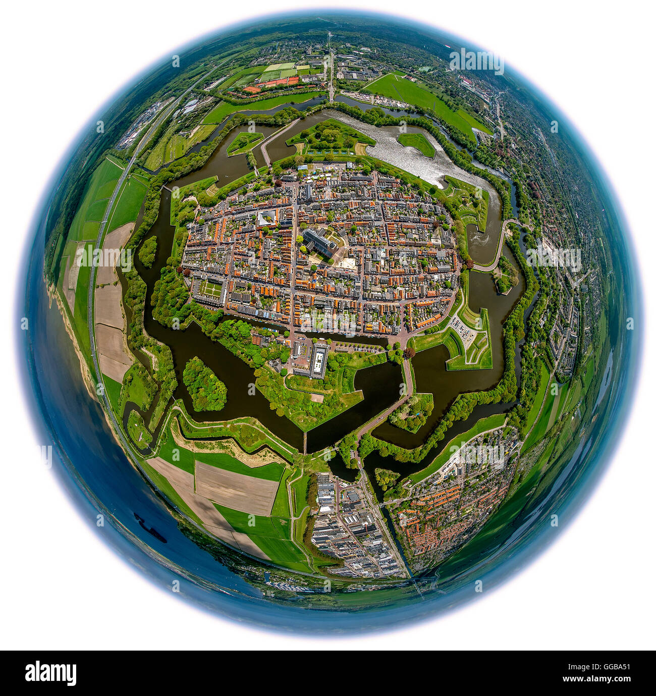 Aerial view, Bastion Oud Molen, Naarden VESTING, fisheye, Fortress of Naarden with townhouse and Church,Great Church - Stock Image