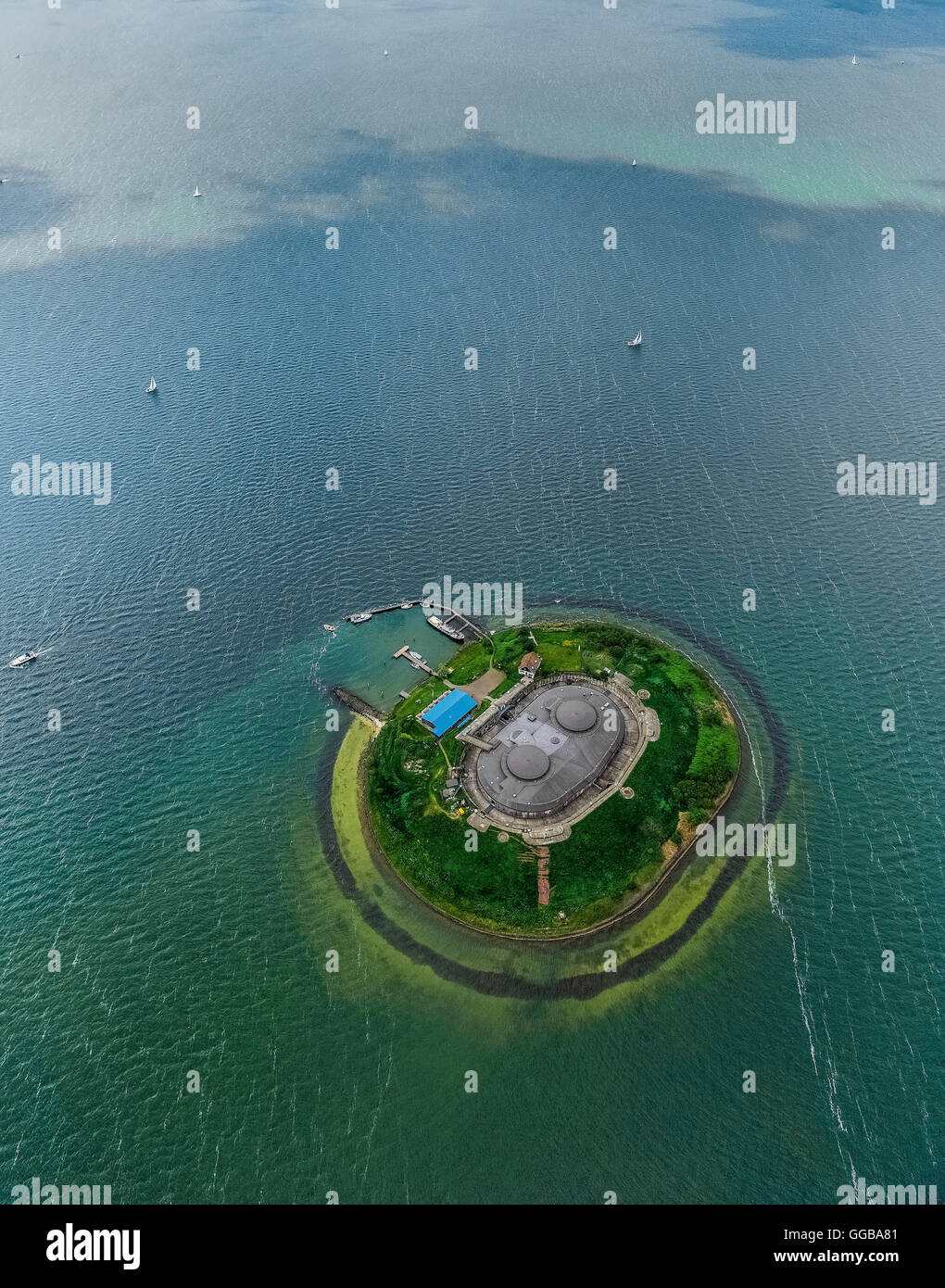 Aerial view, Fort Eiland Pampus, Fort island Pampus, Pampus is an artificial island in the IJmeer, VOR flight navigation - Stock Image