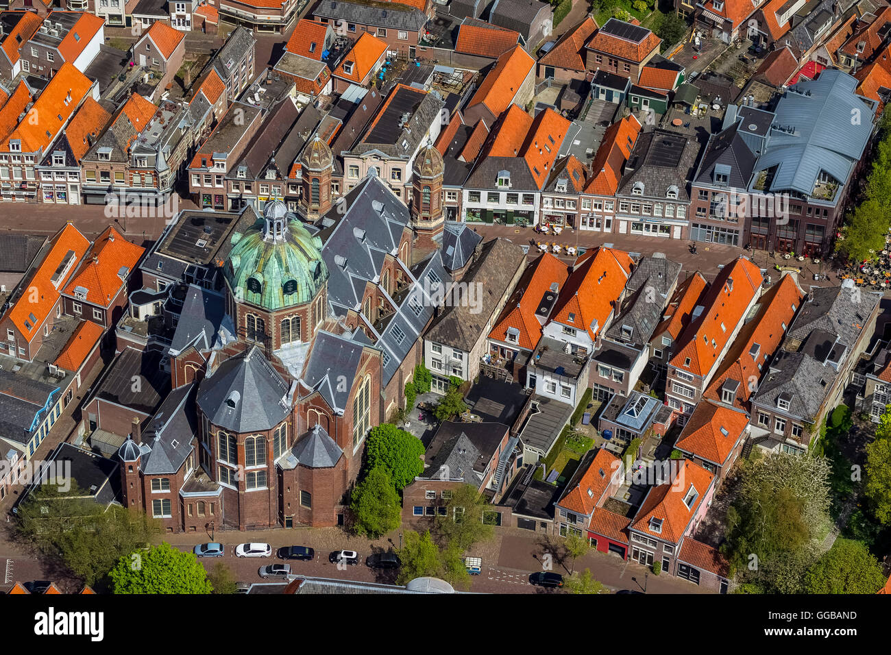 Aerial view, Hoorn at the Markermeer, inland waters, Hoorn, North Holland, Netherlands, Europe, Aerial view, birds - Stock Image