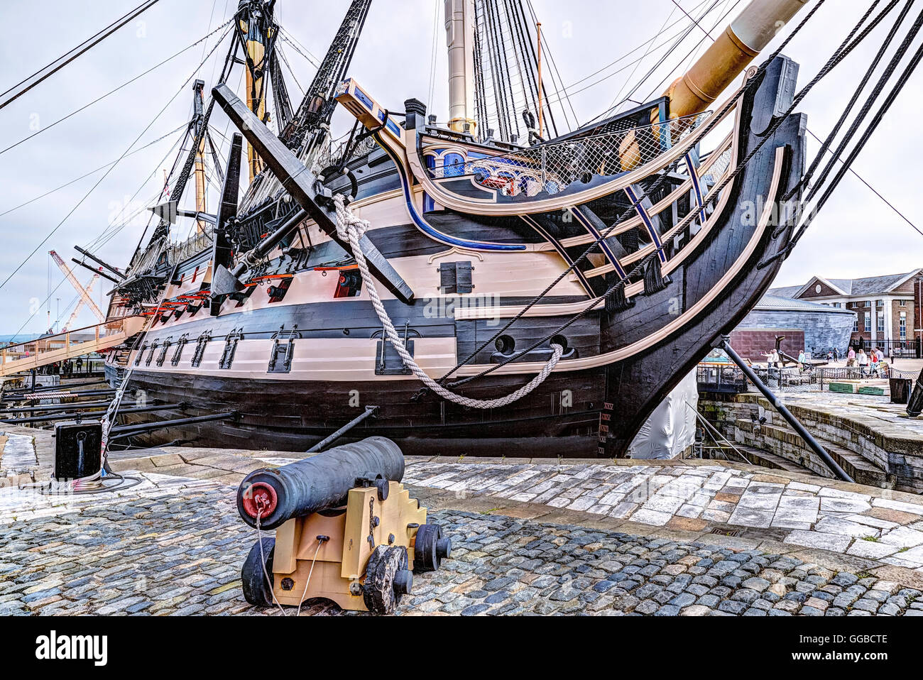 Portsmouth Historic Dockyard, Victory, Portsmouth, Hampshire, England, UK - Stock Image