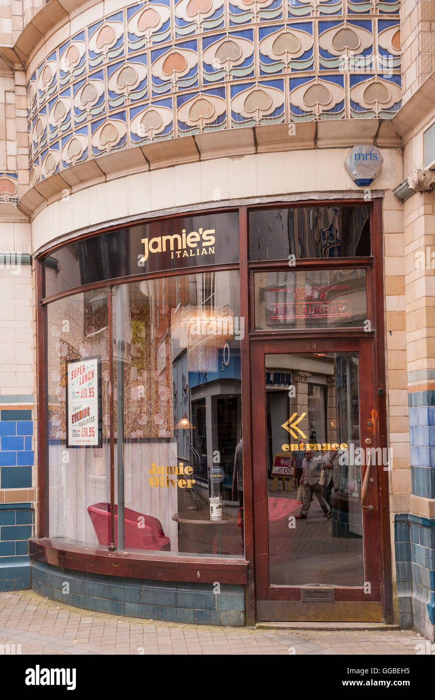 Jamie's Italian restaurant owned by Jamie Oliver in Norwich , Norfolk , England , Britain , Uk - Stock Image
