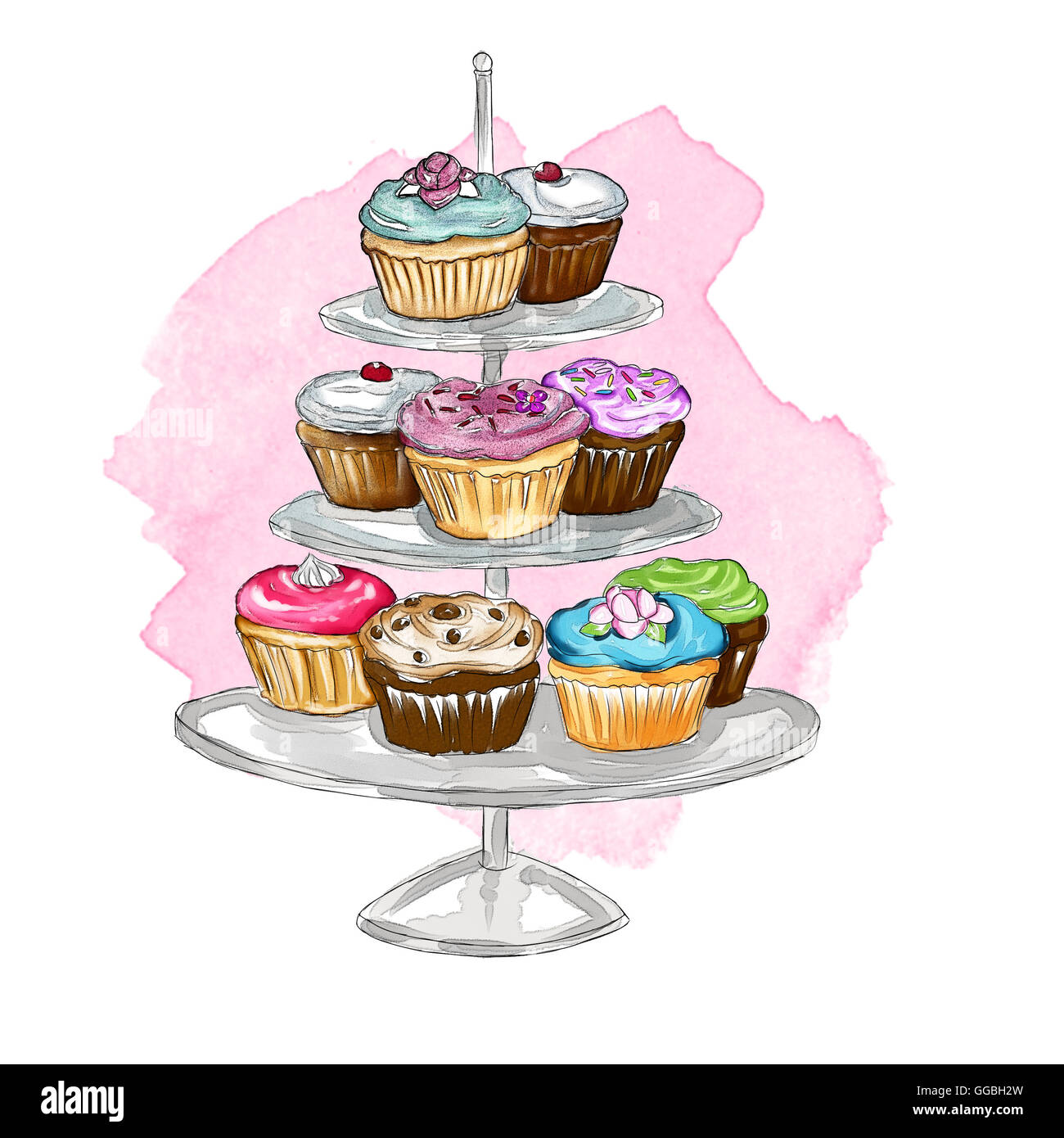 Watercolor Illustration On Cupcakes On A Cake Stand Stock Photo
