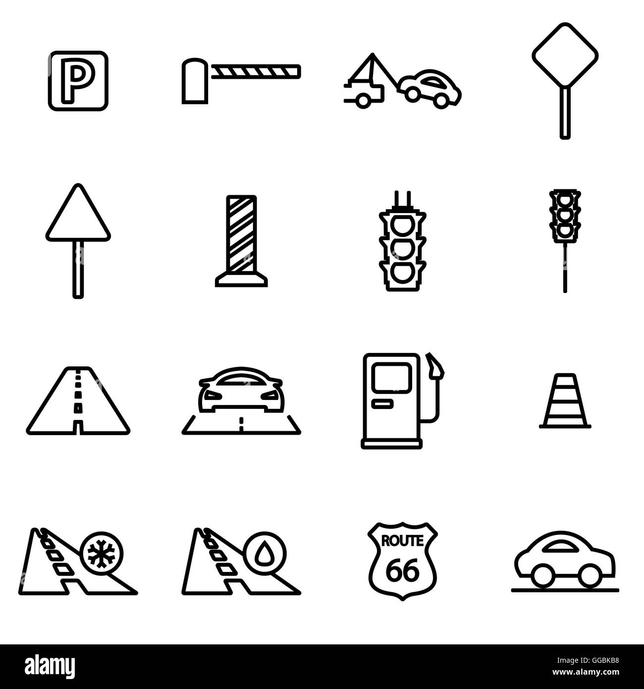 Vector line road icon set on white background - Stock Image