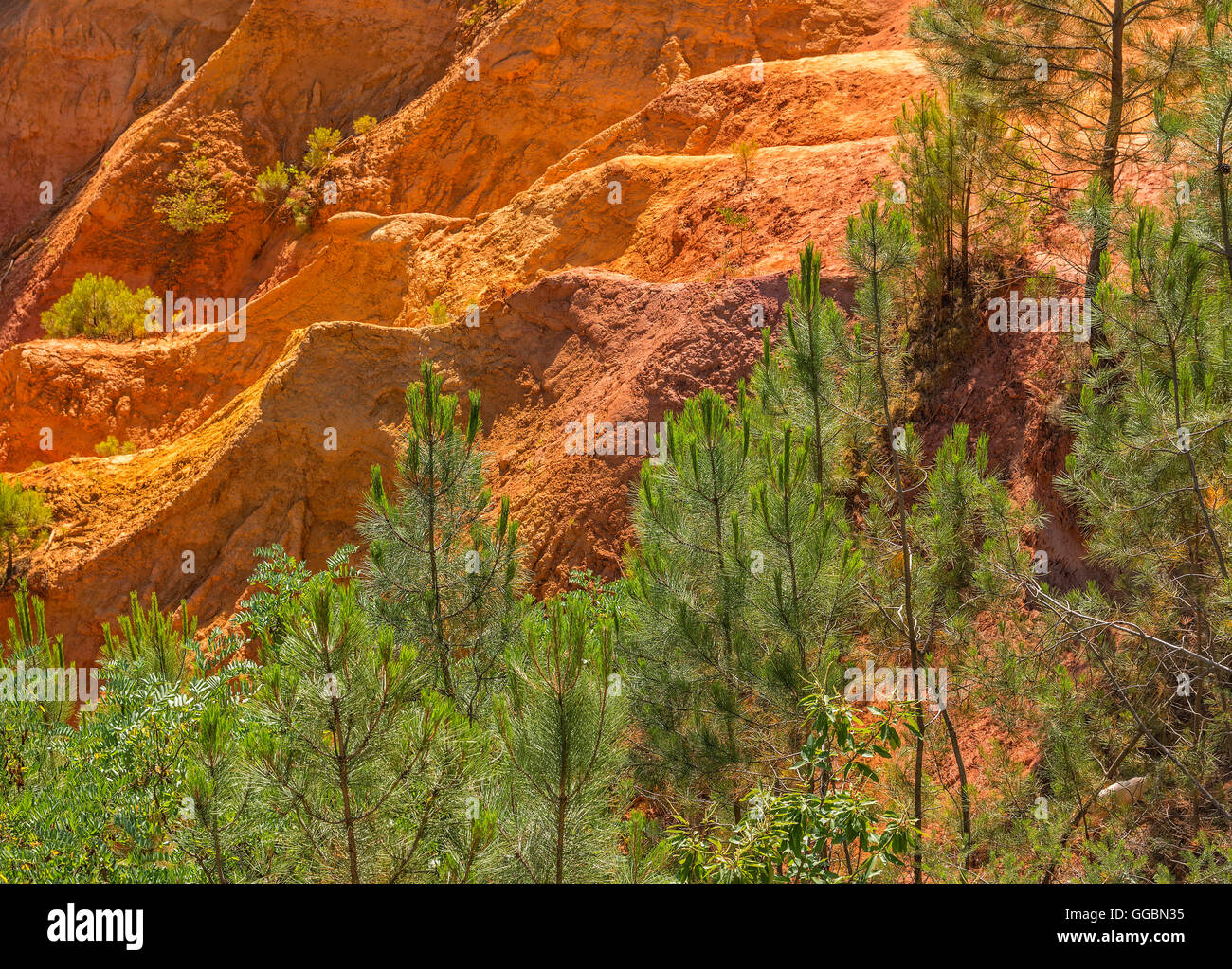 Ochre quarry near Roussillon village in Provence, France - Stock Image