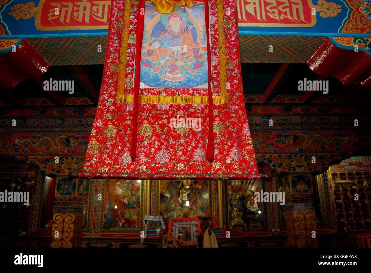 Inside Buddhist Monasteries  at Pangboche - Stock Image