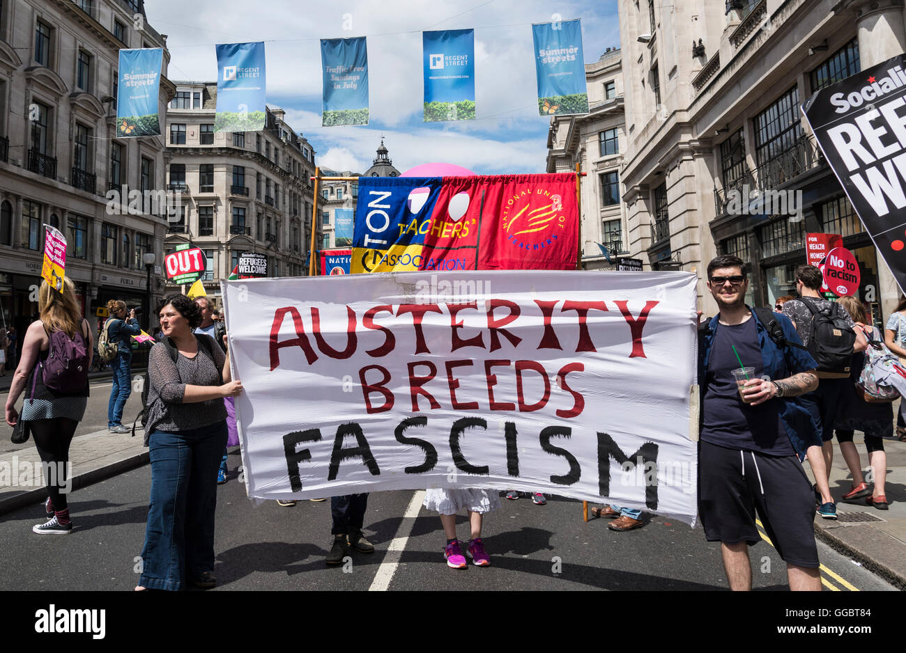 Austerity Breeds Fascism, No More Austerity - No To Racism - Tories Must Go, demonstration organised by Peoples - Stock Image