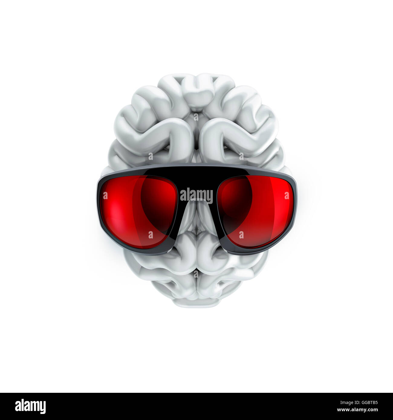 Sunglasses on brain / 3D illustration of human brain wearing sunglasses - Stock Image